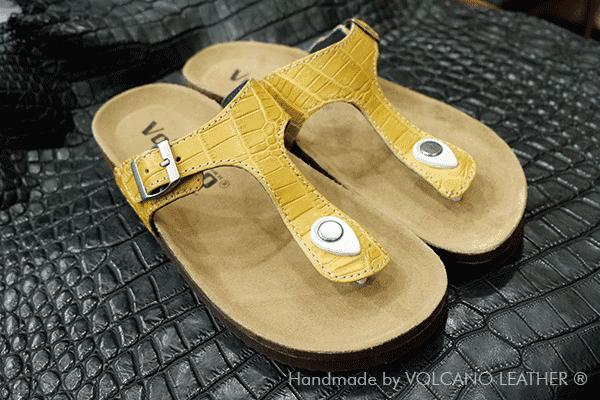 Dép da cá sấu Volcano leather