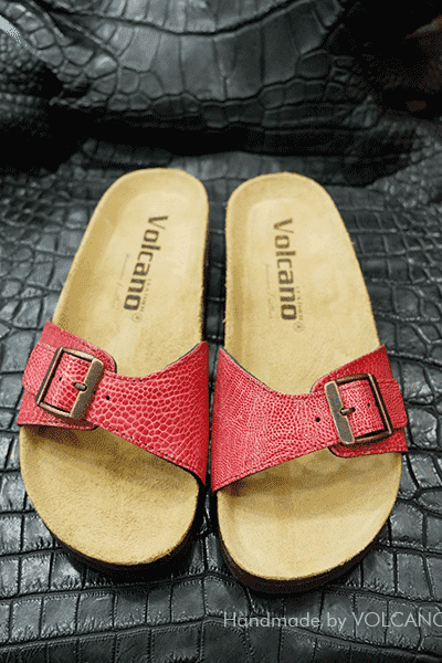 Dép da chân đà điểu Volcano leather