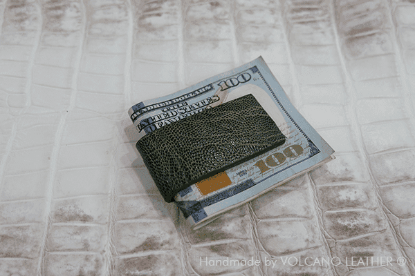 Kẹp tiền da chân đà điểu Volcano Leather