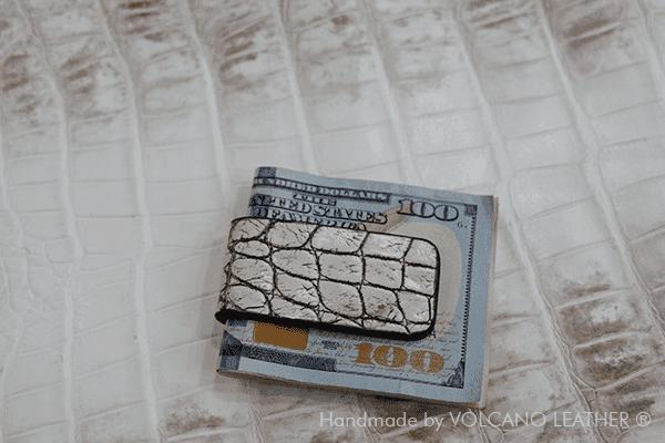 Kẹp tiền da cá sấu Volcano Leather