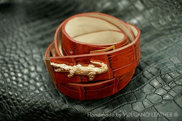 Thắt lưng da cá sấu Volcano leather