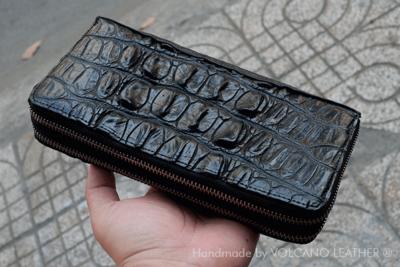 Ví nữ dây kéo da cá sấu Volcano leather